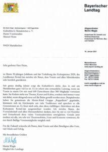 Kulturpreisträger 2020 - Glückwunschschreiben Bay. Landtag